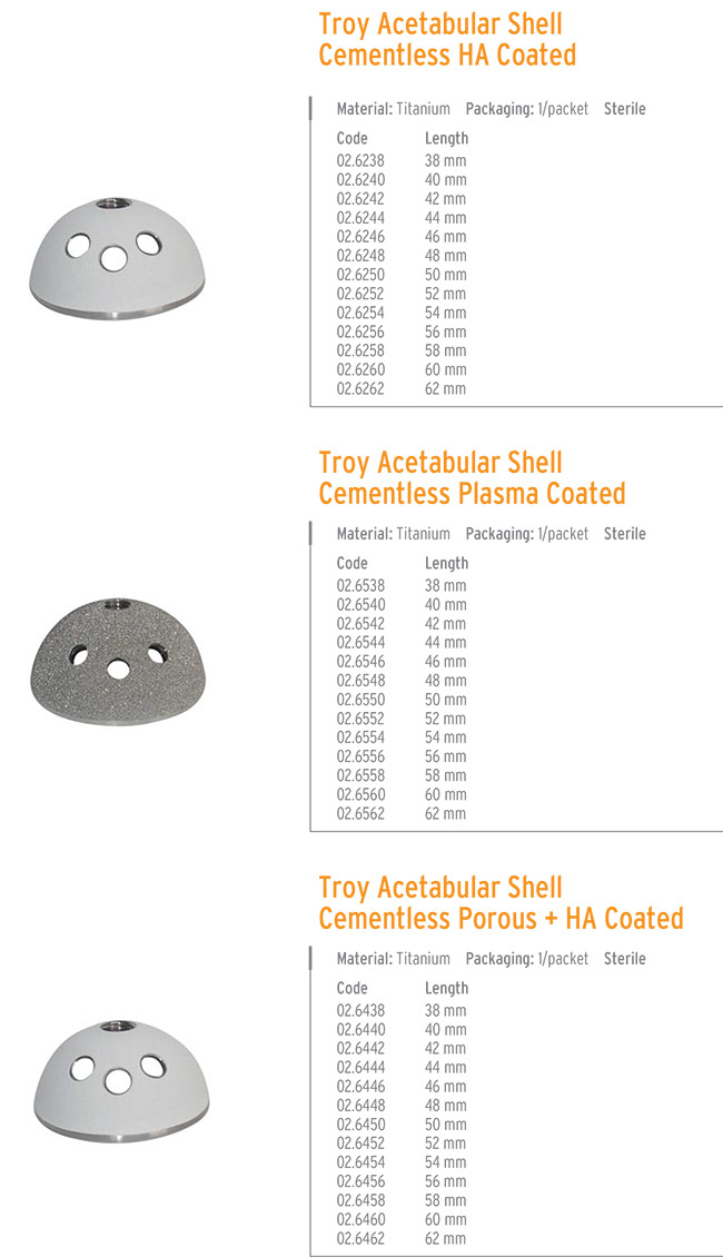 TROY ACETABULAR SHELL CEMENTLESS HA COATED