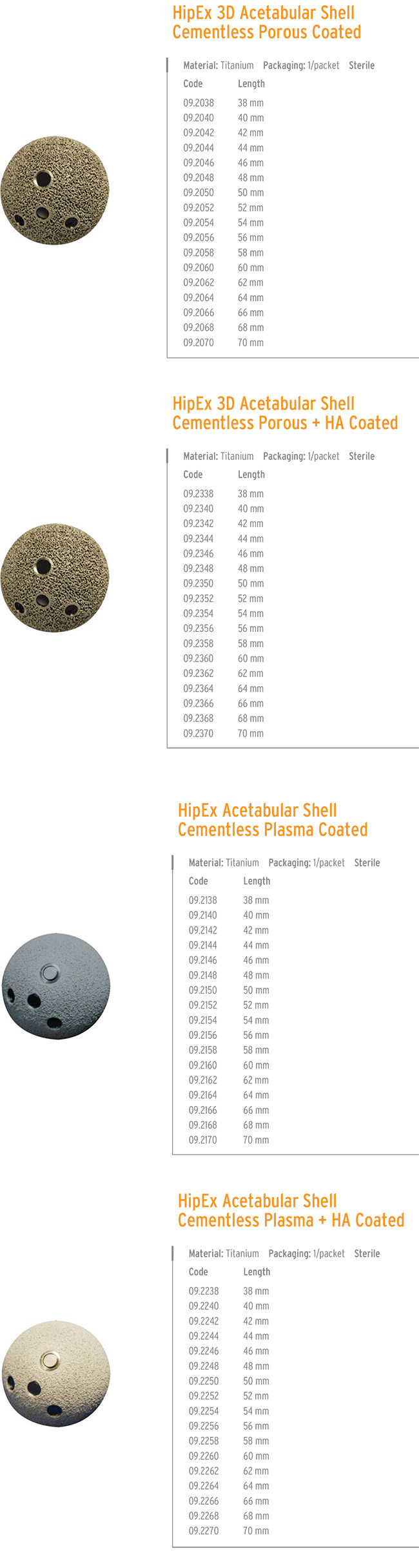 HIPEX 3D CEMENTLESS ASETABULAR